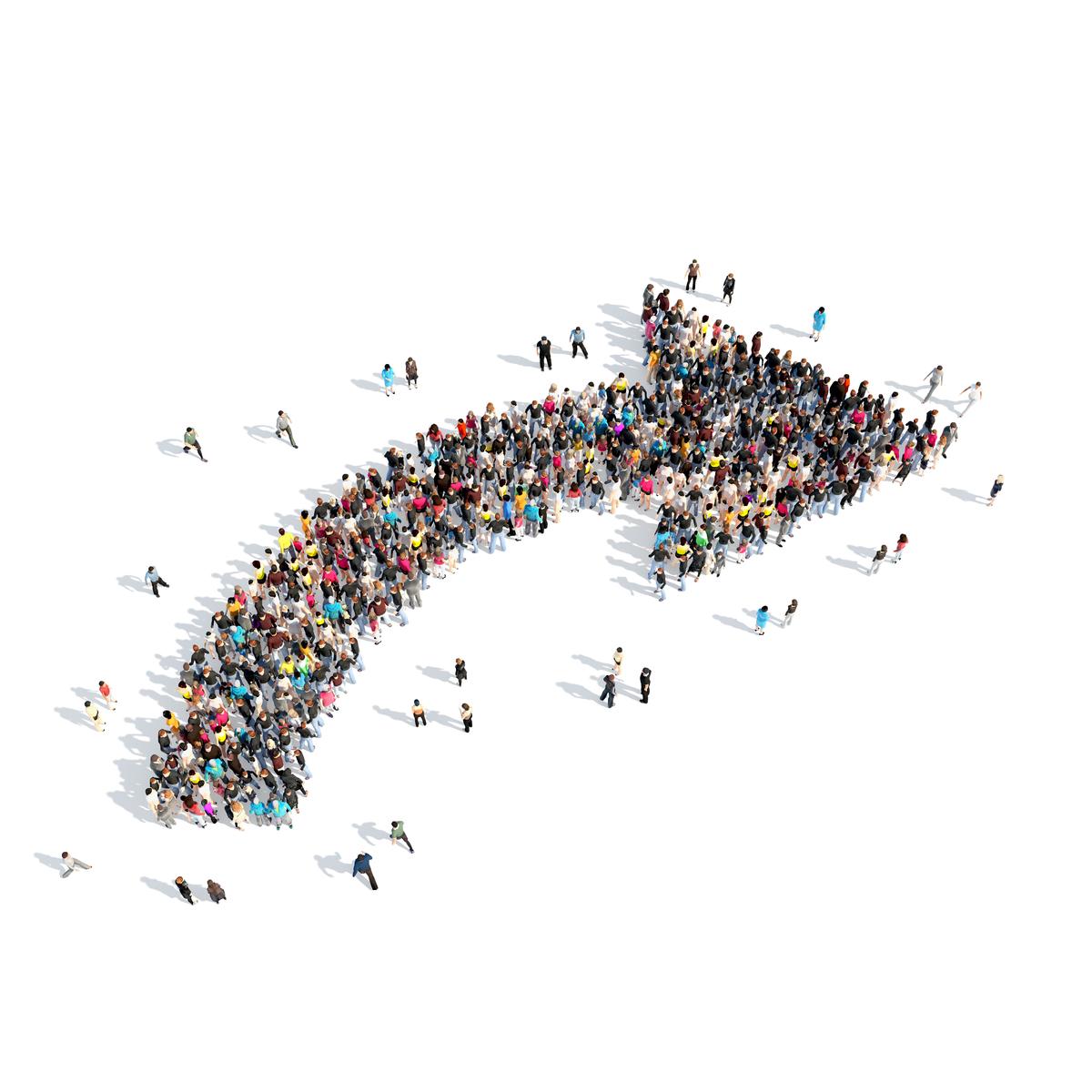 People in an arrow
